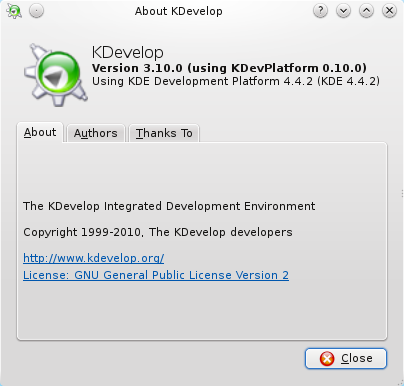 Kdevelop rc1 about dialog