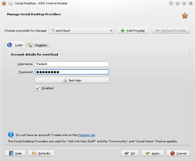 Social Desktop Control Center Modul