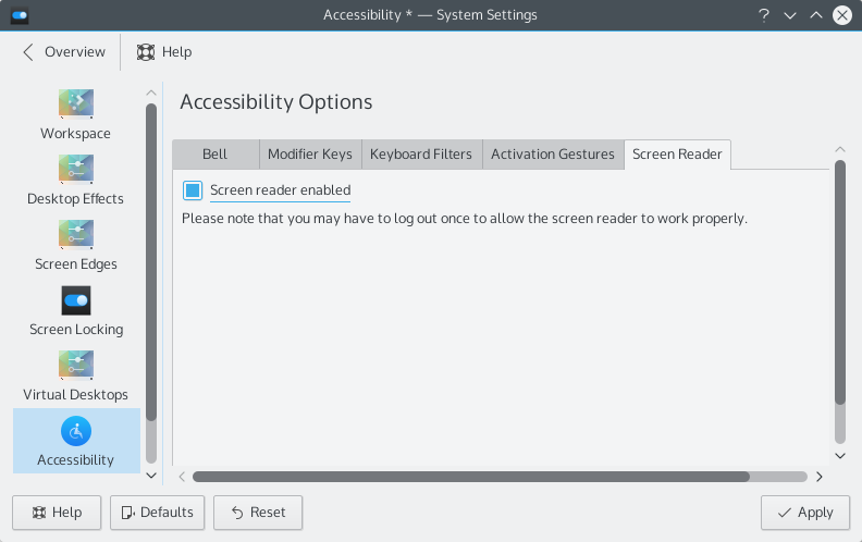 System settings with the screen reader check box