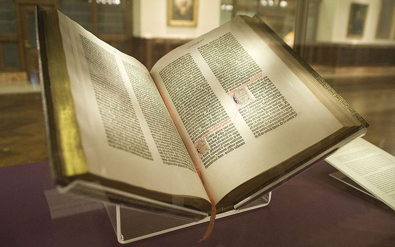 A photo of the bible by Gutenberg