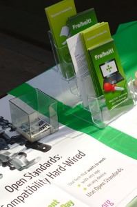 Detail view of leaflets on the booth-table