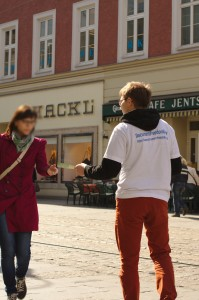 Simon, handing out leaflets