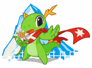 Konqi - the KDE mascot in the Randa Meetings edition
