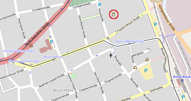 Lage der Brotfabrik in Openstreetmap: lat=50.74090, lon=7.12340