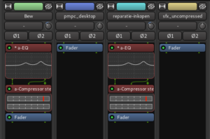 Four tracks with effects on the two voice tracks