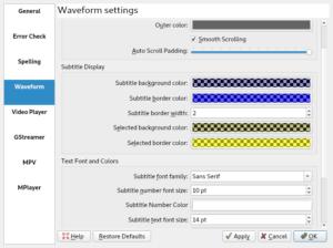 Subtitle Composer waveform settings