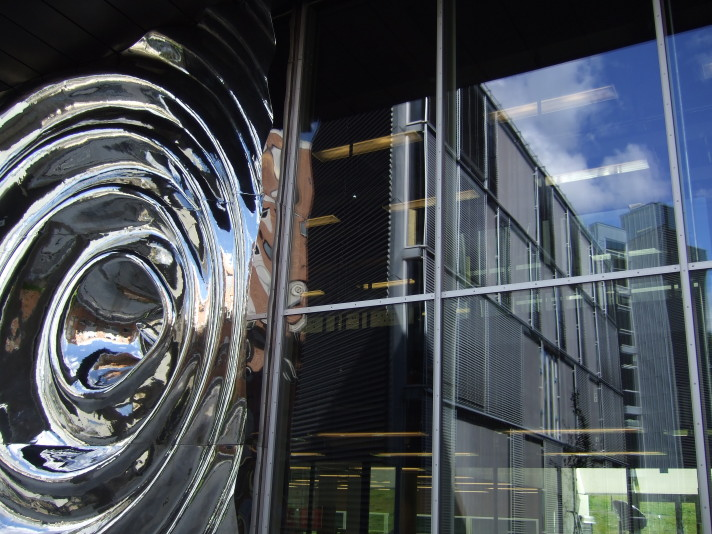 Sculpture and reflection detail, Ole Johan Dahl building, University of Oslo