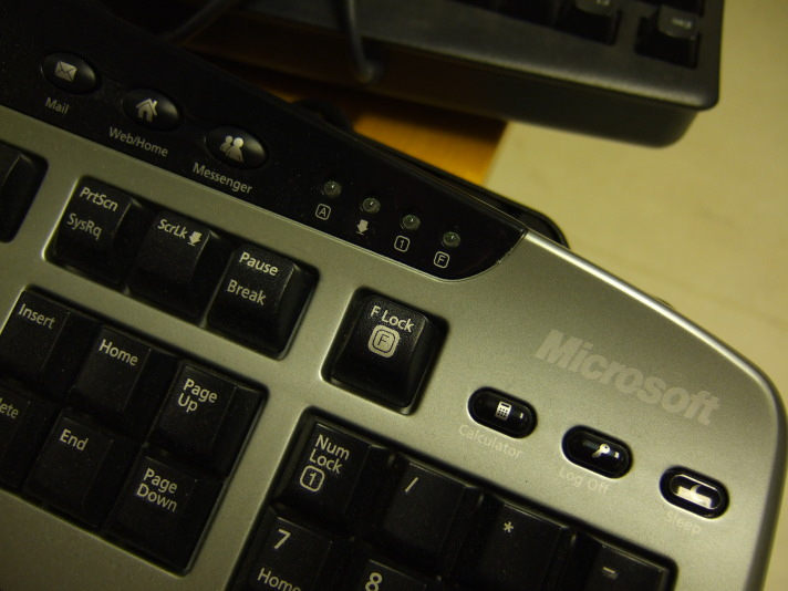 A Microsoft keyboard with buttons for bundled applications