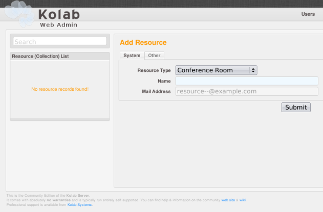 Adding a resource in the administrative interface