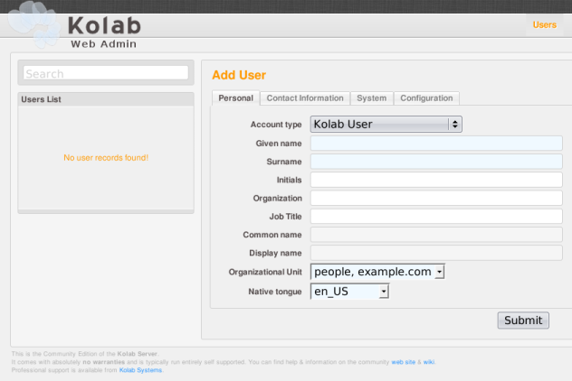 Adding a user in the administrative interface