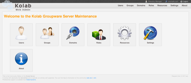 The main page of the administrative interface