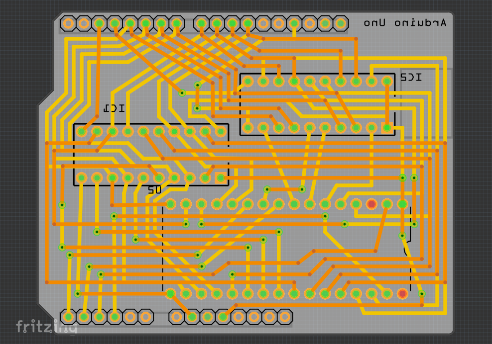 The lower surface of the PCB design in Fritzing