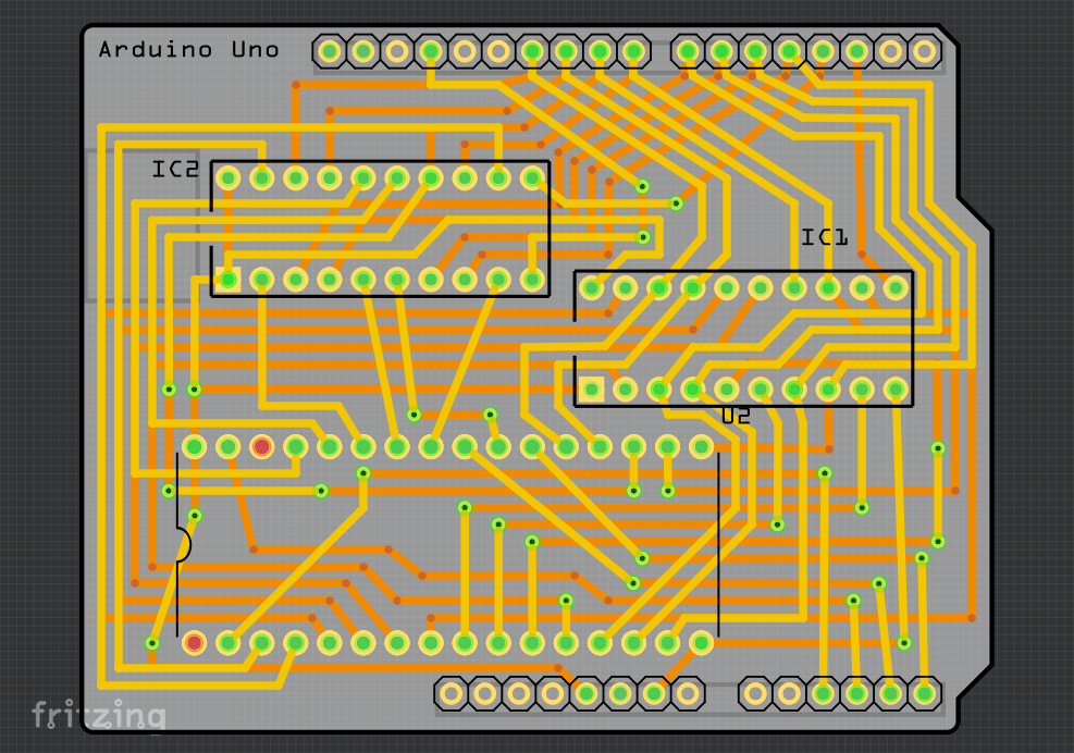 The upper surface of the PCB design in Fritzing