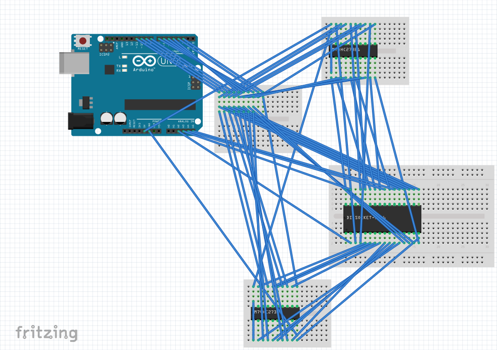 The breadboard view of my circuit in Fritzing
