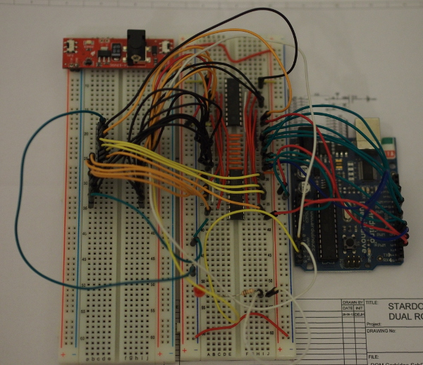An overview of the breadboard circuit