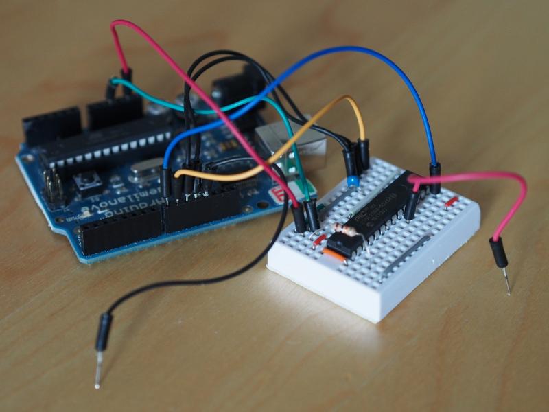 PIC32 device on a mini-breadboard