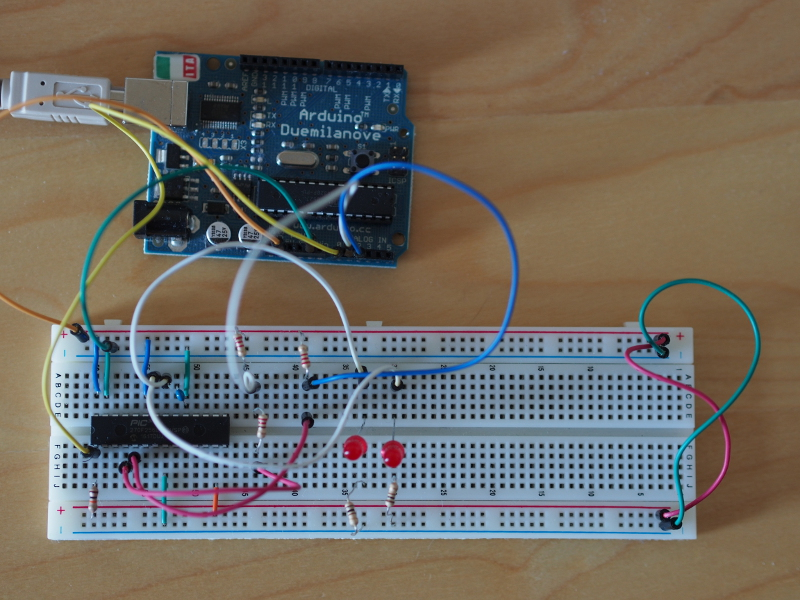 PIC32 on breadboard with Arduino programming circuit