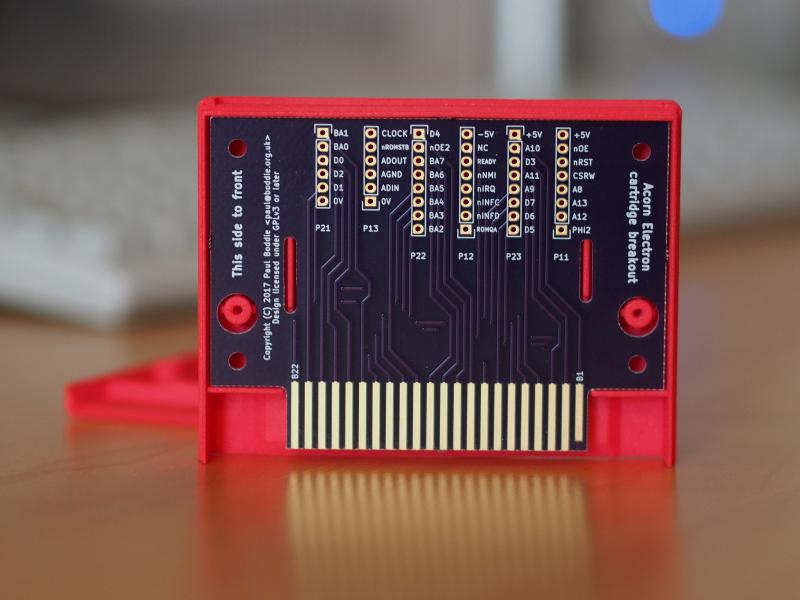 Acorn Electron cartridge breakout board (in 3D-printed case section)