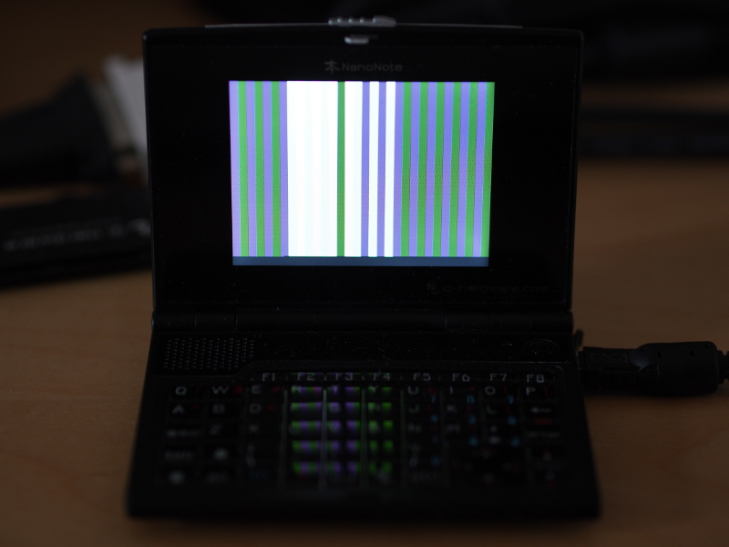 The Ben NanoNote showing a bit pattern on the screen