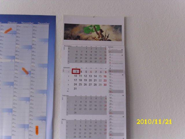 Kalender an Wand