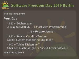 Zusammenfassung des Ablaufs vom Software Freedom Day 2019 in Berlin