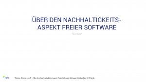 Über den Nachhaltigkeits-Aspekt Freier Software